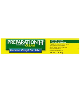 Preparation H Hemorrhoidal Cream, Smooth Cream Formula with Aloe, 1.8-Ounce Tubes (Pack of 2)