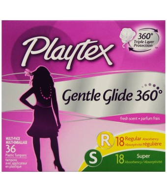 Playtex Gentle Glide Tampons with Triple Layer Protection, Regular and Super Multi-Pack, Fresh Scent - 36 Count (Pack of 2)