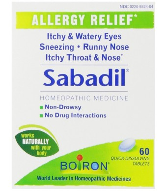 Boiron Homeopathic Medicine Sabadil Tablets for Hay Fever and Allergies, 60-Count Boxes (Pack of 3)