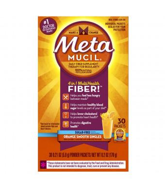 Metamucil Orange Sugar Free Smooth Texture Powder Packets 30 Count (Pack of 2)