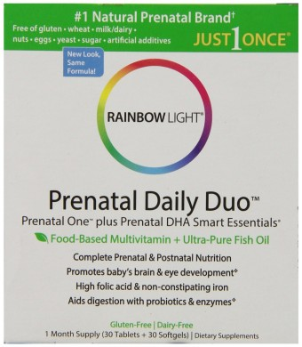 Rainbow Light, Prenatal and Posnatal, Prenatal One Mulitvitamin and Prenatal DHA, 30 Tablets and 30 Softgels