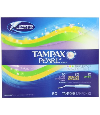 Pearl plastic Triple Pack, Light/Regular/Super Absorbency, Unscented Tampons, 50 Count