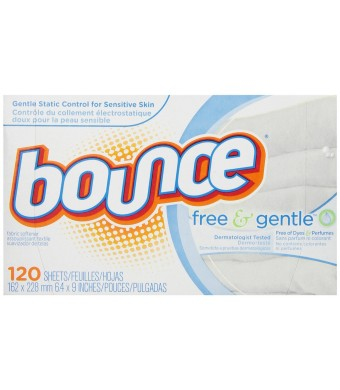 Bounce Free and Gentle Fabric Softener Sheets, 120 Count