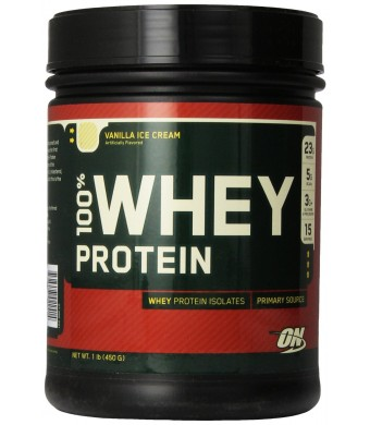 Optimum Nutrition 100% Whey Protein, Vanilla Ice Cream, 16 Ounce