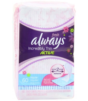 Always Incredibly Thin Fresh Liners Wrapped Scented 60 Count (Pack of 4)