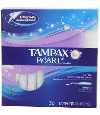 Tampax Pearl Plastic Unscented Tampons, Lites/Light Absorbency, 36 Count (Pack of 2)