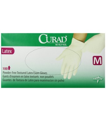Curad Powder-Free Latex Exam Gloves, Medium, 100 Count