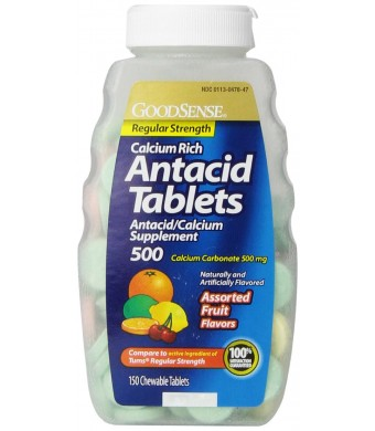 GoodSense Calcium Regular Strength Antacid Tablets, Assorted Fruit Flavored, 150 Count