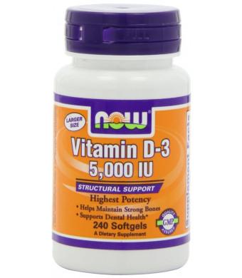 NOW Foods Vitamin D3 5000 Iu, 240 Softgels,
