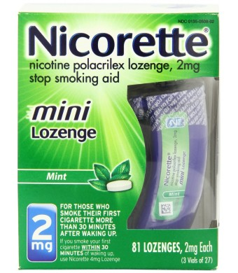 Nicorette mini Nicotine Lozenge Mint 2 milligram Stop Smoking Aid 81 count