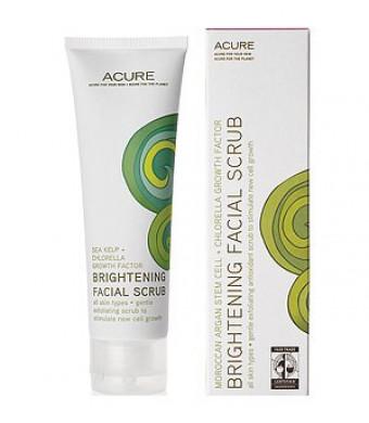 Acure Organics Argan Stem Cell + Chlorella Growth Factor Brightening Facial Scrub, 4 oz
