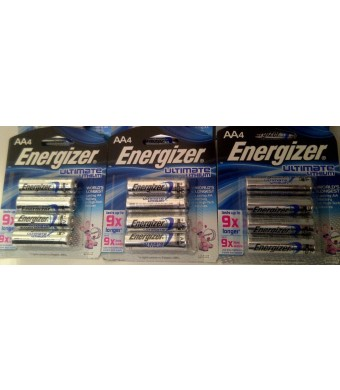 Energizer Ultimate Lithium AA 12 Battery Super Pack
