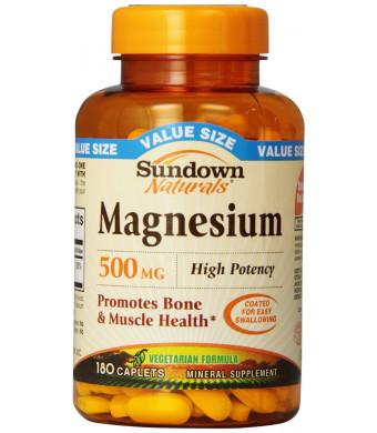 Sundown Naturals Magnesium 500 Mg Caplets Value Size, 180 Count