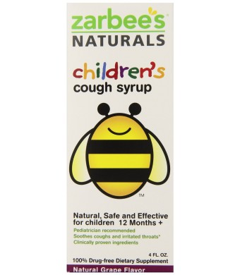 Zarbee's Children's All-Natural Cough Syrup, Grape Flavor, 4 FL Ounce