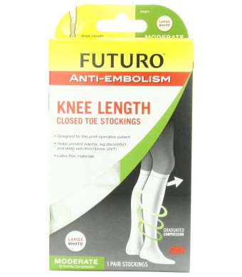 Futuro Anti-Embolism Stockings, Knee Length Closed Toe, White, Large, Moderate (18 mm/Hg)