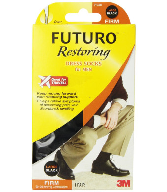 Futuro Restoring Dress Socks for Men, Black, Large, Firm (20-30 mm/Hg)
