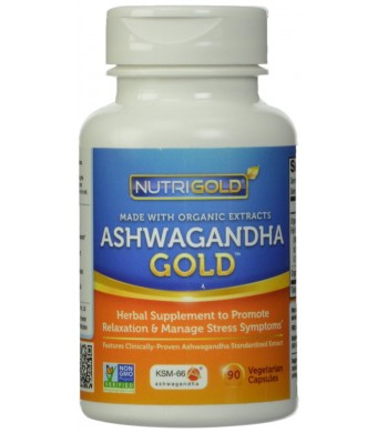 Organic Ashwagandha Gold, 500 mg, 90 Veggie Capsules - The Gold Standard, Clinically-Proven, Non-GMO, Full-Spectrum Root Standardized Extract Powder