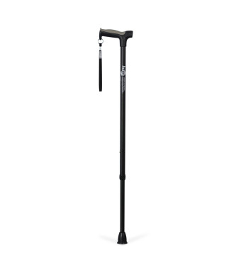 Hugo Mobility Adjustable Derby Handle Cane with Reflective Strap, Ebony