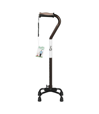 Hugo Mobility Adjustable Quad Cane for Right or Left Hand Use, Cocoa, Small Base