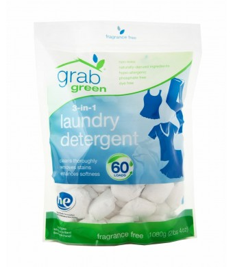 Grab Green 3-in-1 Laundry Detergent, Fragrance Free, 60 Loads