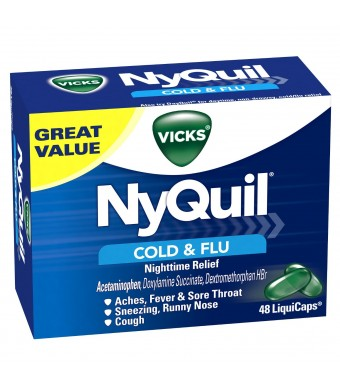 Vicks Nyquil Cold and Flu Nighttime Relief Liquicaps 48 Count