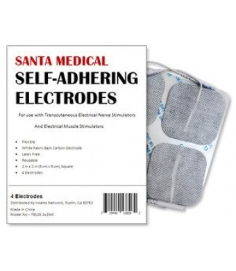 """Santamedical 40 2""""  X 2""""  Re-Usable Carbon Electrode Pads with Premium Gel (White Cloth)"""