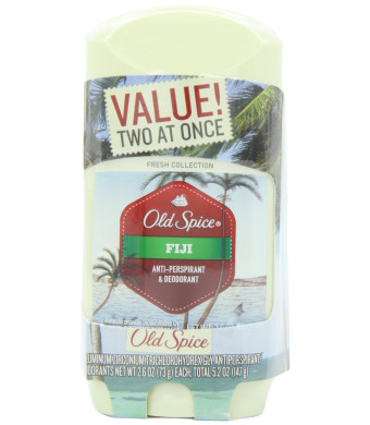 Old Spice Fresh Collection Invisible Solid Fiji Scent Men's Anti-Perspirant and Deodorant Twin Pack 5.2 Oz, Net. Wt.