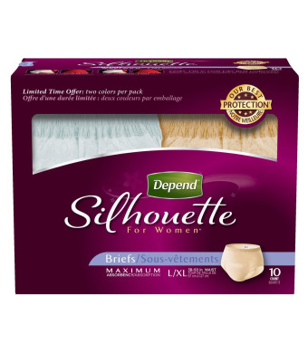 Depend Underwear Silhouette Maximum Absorbency for Women, Large/X-Large, 10 Count