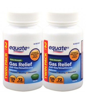Equate Extra Strength Gas Relief 125 mg 72 Softgels (Twin Pack)