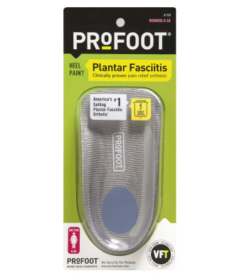 PROFOOT Plantar Fasciitis Orthotics, Women's 6-10, 1 Pair