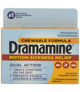 Dramamine Motion Sickness Relief Chewable Tablets, Orange Flavored, 8 Count