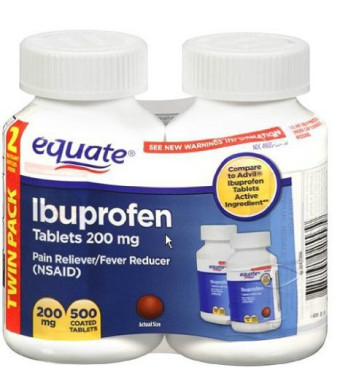 Equate Ibuprofen Tablets 200mg, 250ct, 2pk
