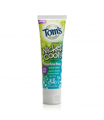 Tom's of Maine Wicked Cool! Fluoride Free Toothpaste, Mild Mint, 4.2 Ounce