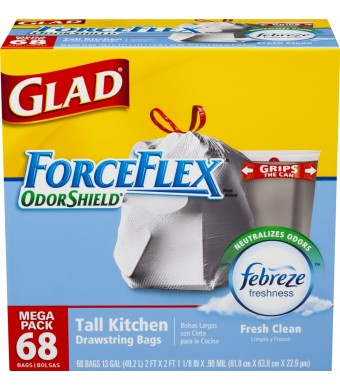 Glad ForceFlex OdorShield Drawstring Tall Kitchen Trash Bags, Fresh Clean, 13 Gallon, 68 Count (Packaging May Vary)