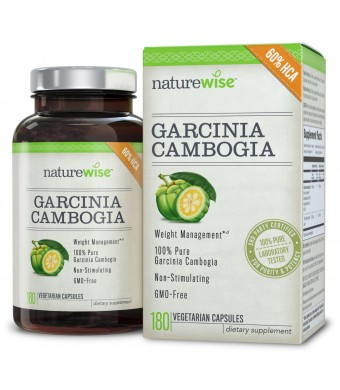 NatureWise Garcinia Cambogia Extract, HCA Appetite Suppressant and Weight Loss Supplement, 500 mg, 180 count
