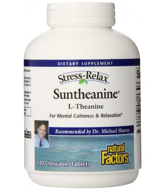 Natural Factors Suntheanine 100 mg, Chewable Tablets, 120 Count