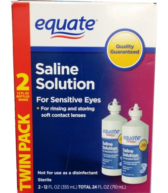 Equate Contact Lens Saline Solution for Sensitive Eyes 12 Fl Oz Pack of 2 24 Total Ounces (Compare to Bausch and Lomb Eyes Plus)