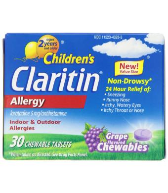 Claritin Children's Chewable Tablet, Grape, 30 Count