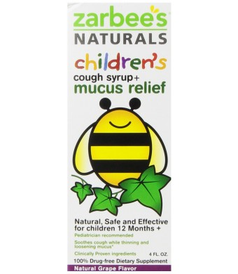 Zarbee's Naturals Children's Cough Syrup, Grape + Mucus Relief, 4 Fl Ounce