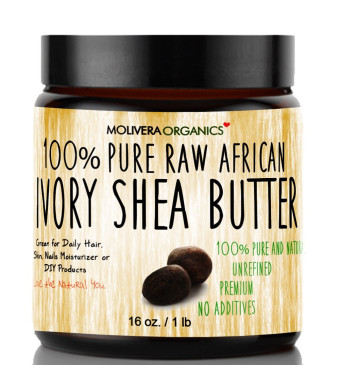 Shea Butter - Molivera Organics 16 Oz. Premium Raw Unrefined African Organic Grade  A Ivory Shea Butter for Natural Skin Care, Hair Care and Body But
