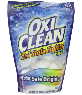Oxiclean 2 In 1 Stain Fighter with Color Safe Brightener Power Packs, 26 Count