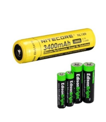 NITECORE NL189 3400mAh Protected 18650 Rechargeable Li-ion Battery with EdisonBright AA/AAA alkaline battery sampler pack.- Designed for TM26 TM15 TM