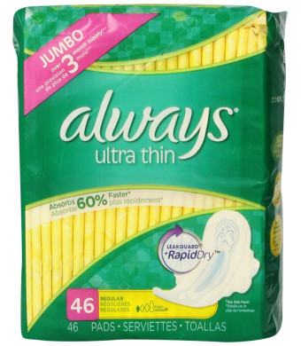 Always Ultra Thin Pads Regular W/Flexi-Wings Unscented 46 Count