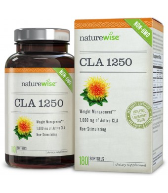 NatureWise CLA 1250, Highest Potency Non-GMO Healthy Weight Management Supplement, 180 count