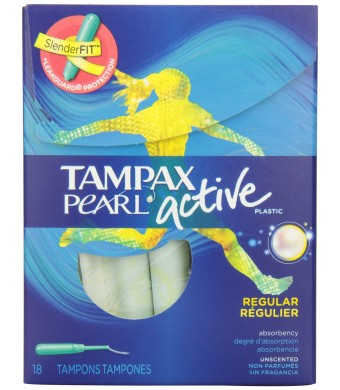 Tampax Regular Absorbency, Unscented Plastic Applicator Tampons, 18 Count