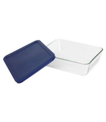 Pyrex Storage 6-Cup Rectangular Dish with Dark Blue Plastic Cover, Clear