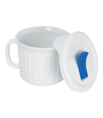 Corningware French White Pop-Ins 20-Ounce Mug with Blue Vented Plastic Cover, White