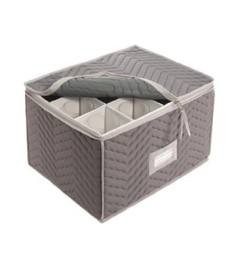 """Stemware Storage Chest -Deluxe Quilted Microfiber (Light Gray) ( 15.5""""  x 12.5 x 10"""" )"""