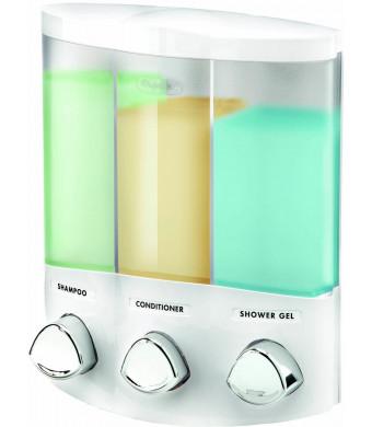 Euro Series TRIO Three Chamber Soap and Shower Dispenser, White
