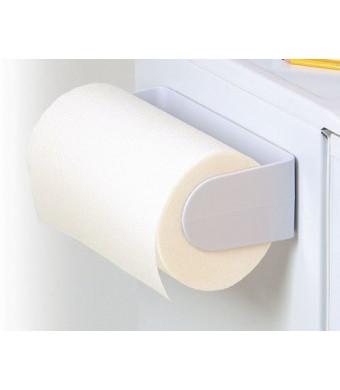 Spectrum White Plastic Wall Mount Magnetic Paper Towel Holder